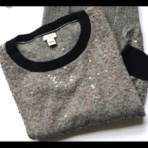 J.CREW factory scattered sequins sweater gray navy